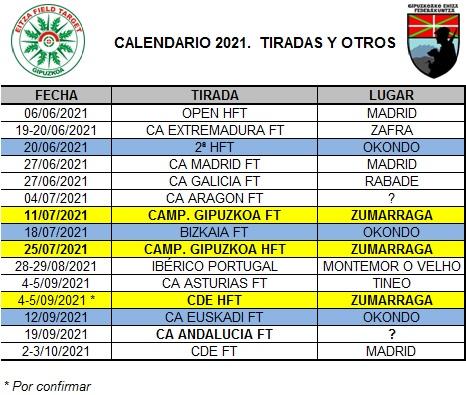 Calendario de tiradas 2021